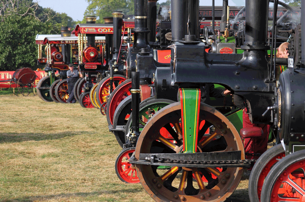 Steam engines lined up in a row at the Grand Henham steam Rally