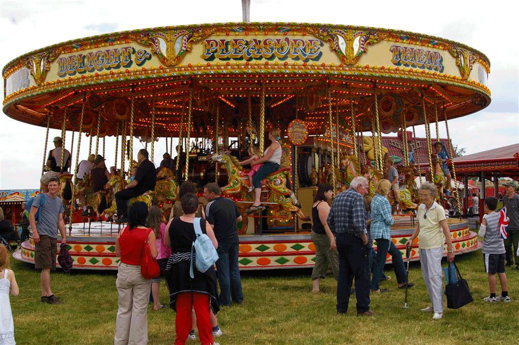 vintage steam powered carousel