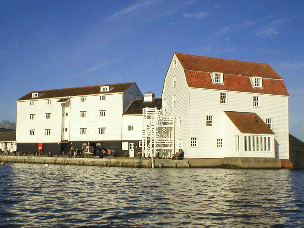 woodbridge tide mill photo taken from across the water in the river