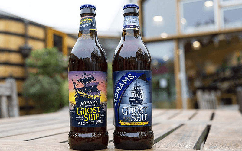 A bottle of Adnams Ghost Ship and a bottle of Adnams Alcohol Free Ghost Ship