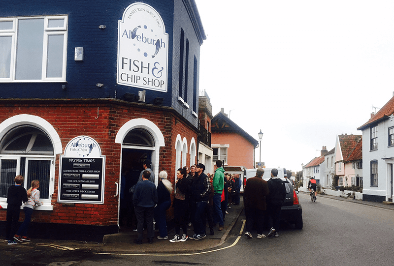 Queue outside the Aldeburgh Fish & Chip Shop