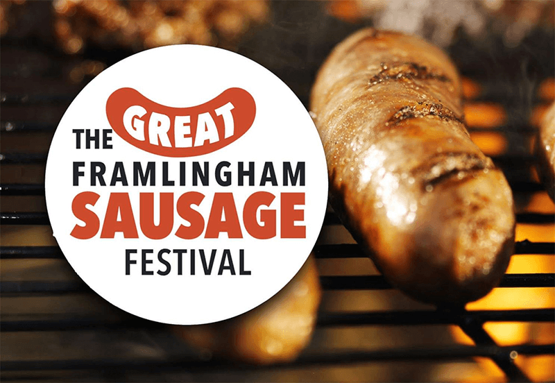 Great Framlingham Sausage Festival Logo and sausage