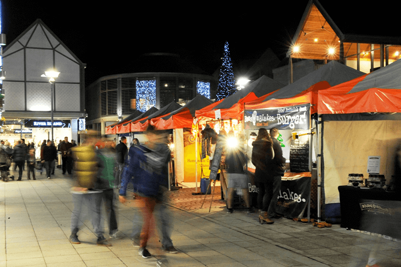 Christmas Stalls next to the Arc in Bury St Edmunds