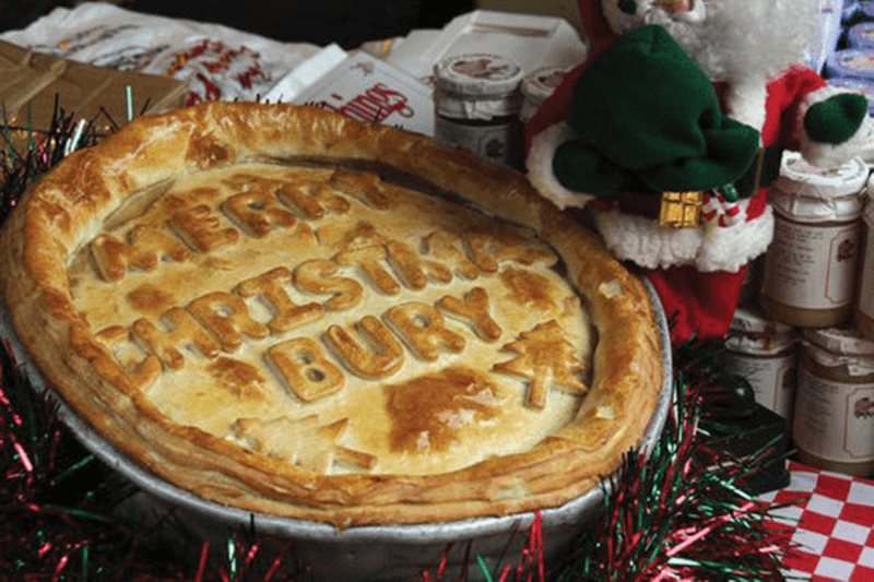Festive pie with Merry Christmas Bury written on it