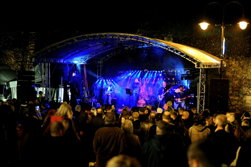Live music played on stage at Angel Hill
