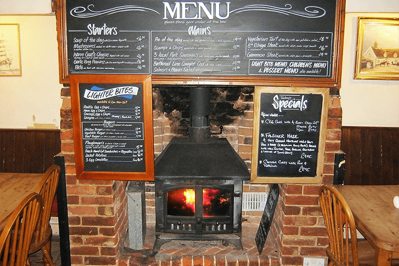 Wood burner at The Ship Blaxhall Suffolk