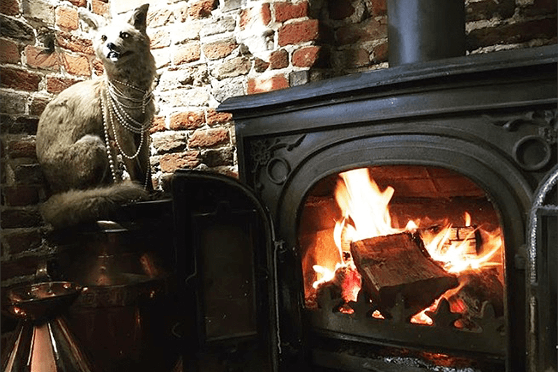 Woodburner at The Fox Inn Newbourne Suffolk