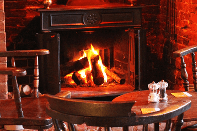 Open fireplace at The Ship at Dunwich Suffolk