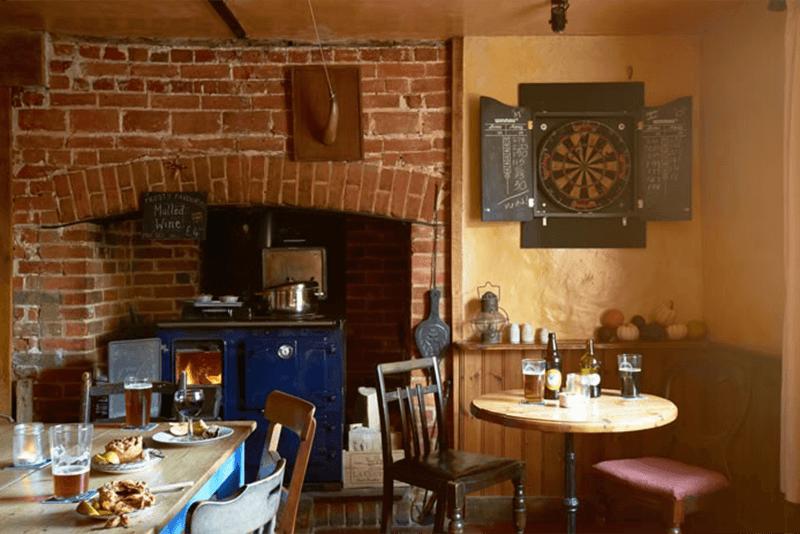 Wood burning stove at The Sweffling White Horse Suffolk