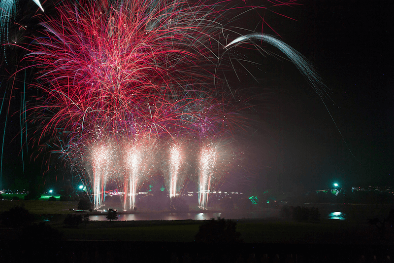 Fireworks over the lake at Heveningham Hall