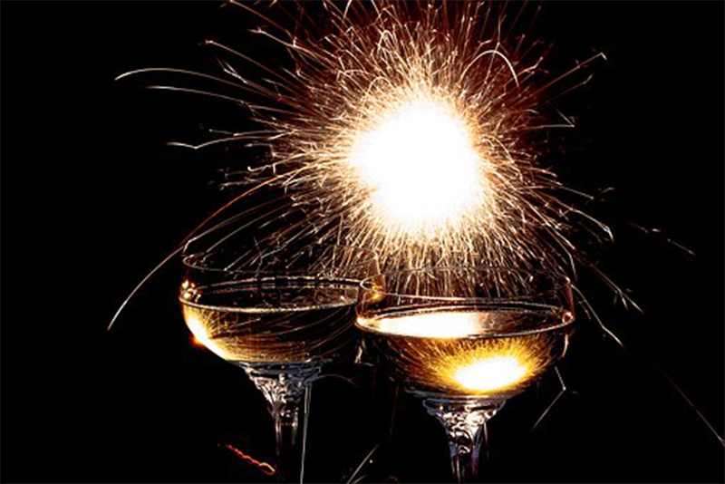 Champagne Glass and Fireworks