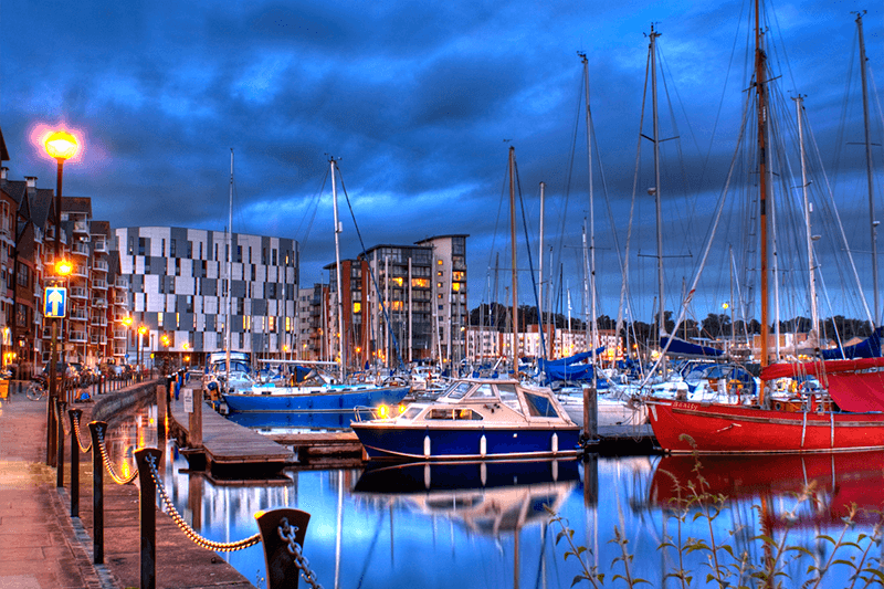 Romantic lights at Ipswich Marina