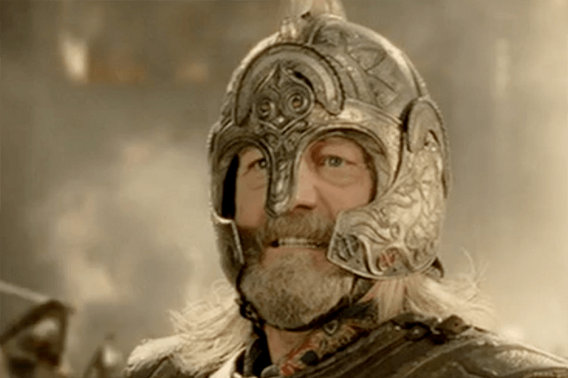 Theoden wearing his helmet in Lord of  the Rings