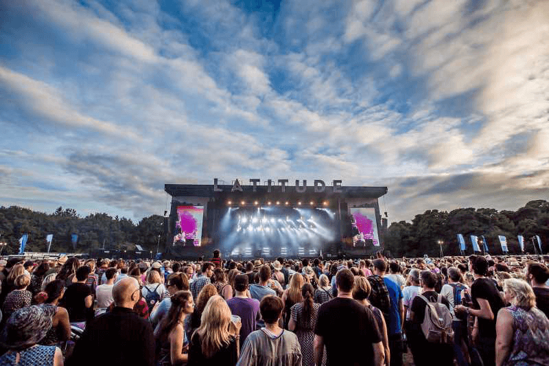 The view of Latitude Main Stage from the crowd