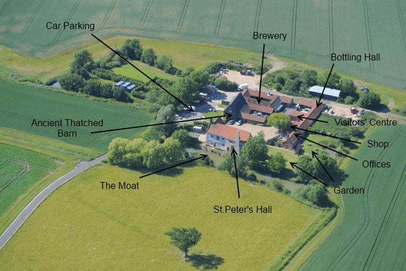 Overhead view of St. Peters Brewery