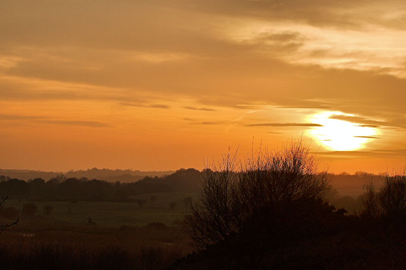 Sun setting over suffolk
